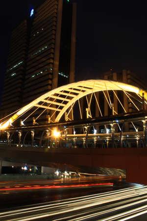 Pubic skywalk with modern buildings of Bangkok thailand Stock Photo - 12837133