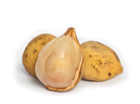 Tropical fruit langsat in white background