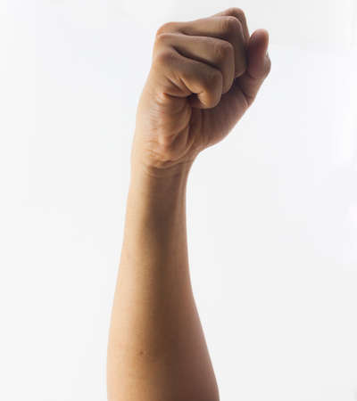 Hand fist isolated on white background photo