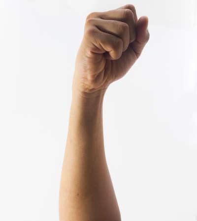 Hand vuist op witte achtergrond