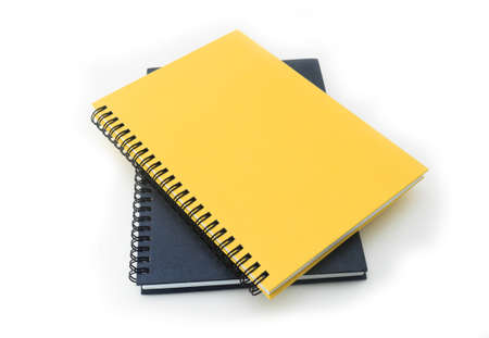 stack of ring binder book or notebook isolated on white photo