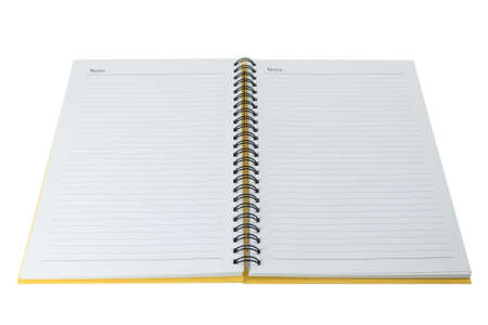 Open blank note book on white photo