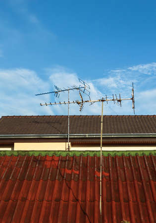 Television antenna on the roof of home Stock Photo - 14637251