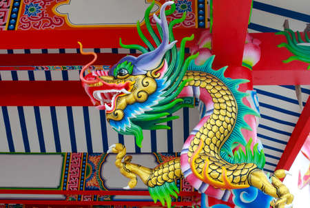colorful dragon statue on china temple Stock Photo - 14637279