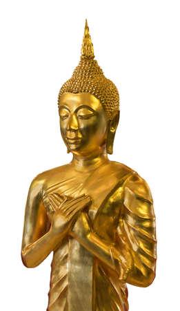 Golden Buddha close up on white background photo