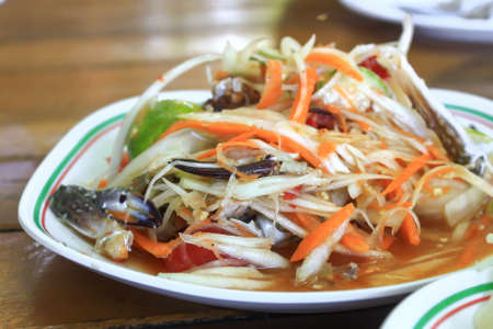 Thai green papaya salad with horse crab Stock Photo - 14872050