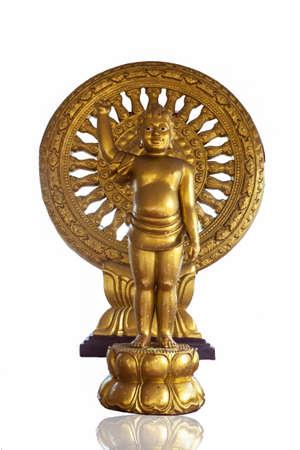 Golden Baby Buddha statue on white background, Thailand