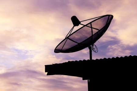 satellite communication disk on evening background Stock Photo - 15015451