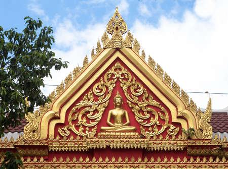 Gable of temple buddha in thailand Stock Photo