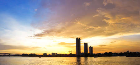 panorama sunset on the river at Bangkok photo