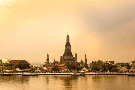 Wat Arun Thailand Temple in Sunset scene photo