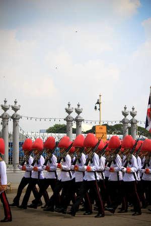 adulyadej: BANGKOK - DECEMBER 5: Soldiers in parade uniforms  to celebrate for the 85th birthday of HM King Bhumibol Adulyadej on December 5, 2012 in Bangkok, Thailand.  Editorial