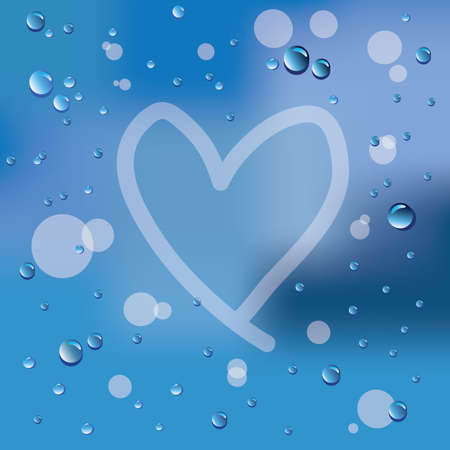 Hand drawn heart and raindrops on glass background Vector
