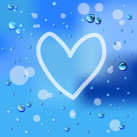 Hand drawn heart and raindrops on glass  Vector