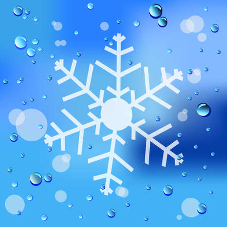 Drawn Snow and raindrops on glass background Vector