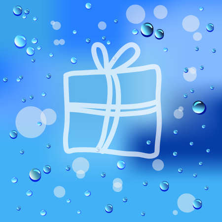 Drawn Gift and raindrops on glass background Vector