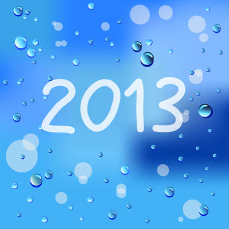 Drawn year 2013 and raindrops on glass  Vector