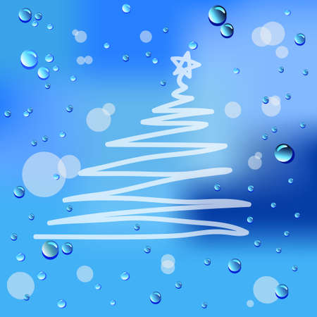 Drawn Christmas and raindrops on glass  Vector