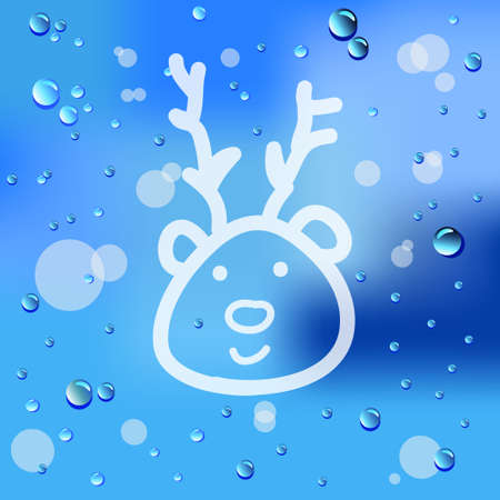 Drawn deer and raindrops on glass background  Vector