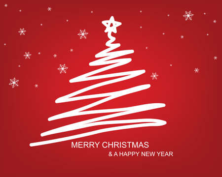 Christmas tree draw with red background  Vector