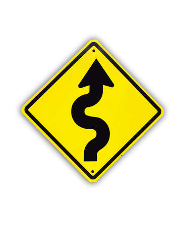 Winding yellow traffic sign on white background Stock Photo