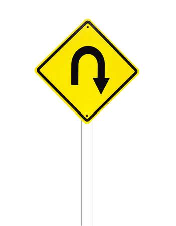 Turn back road Traffic Sign on white background