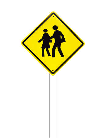 Traffic sign (School warning sign) on white background