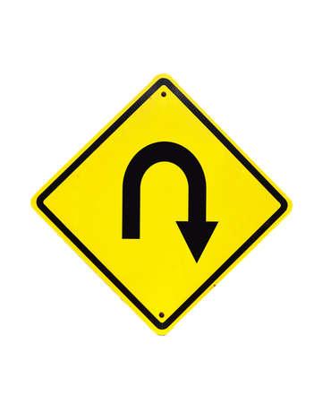 U turn road Traffic Sign on isolated