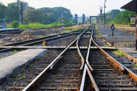 going nowhere: intersection of railway lines Stock Photo