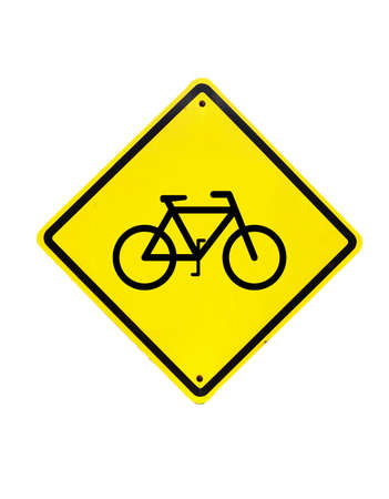 Bicycle Yellow Sign on white background photo