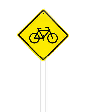 Traffic bicycle Sign on white photo