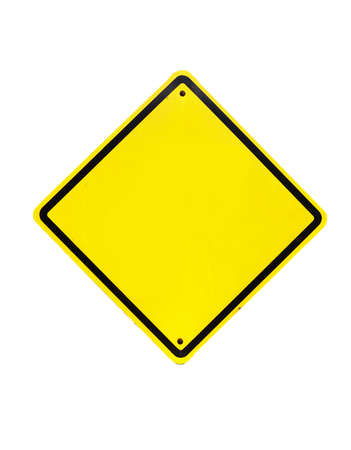 Blank Yellow Sign - Empty Yellow Symbol on white background photo