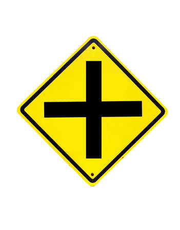 Four intersection traffic sign on white  Stock Photo - 19220941
