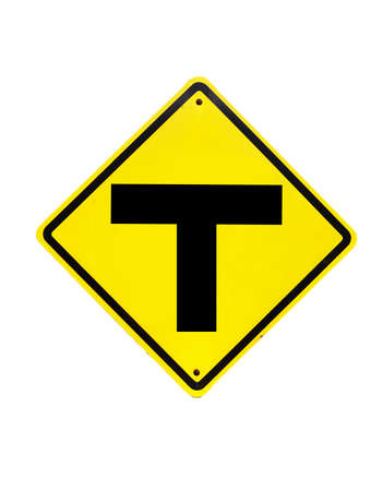 The three intersection traffic sign on white  Stock Photo