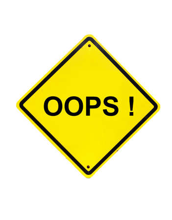 interjection: oops error Yellow Sign on white background Stock Photo