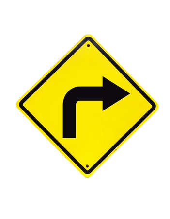 Turn right traffic sign on white Stock Photo