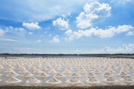 Salt fields with piled up sea salt in Thailand photo