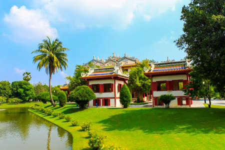 Chinese style palace of Wehart Chamrunt in Bang Pa-In palace, Ayutthaya, Thailand  Stock Photo