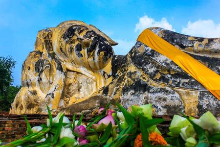 ayuttaya: Reclining buddha at Wat Lokayasutharam in Ayutthaya,Thailand