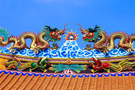 Traditional Chinese style style roof in temple, Thailand