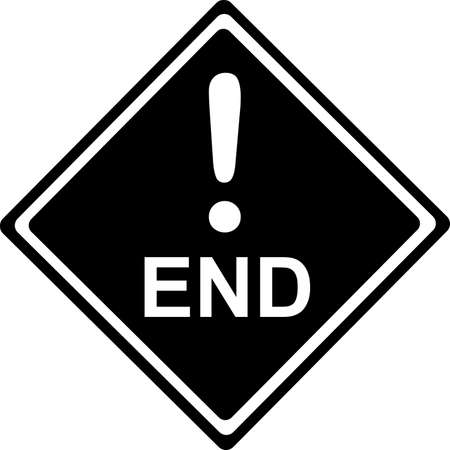 End - Traffic black Sign isolated on white  Vector