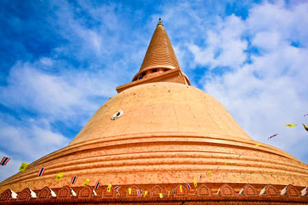 Wat Phra Pathom Chedi in blue sky, the tallest stupa in the world  It is located in Nakhon Pathom province, Thailand  photo
