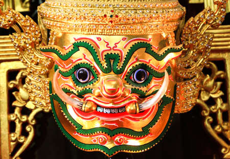 Hua Khon  Ancient Thai Show Mask  use in Khon Thai classical style of Ramayana Story photo