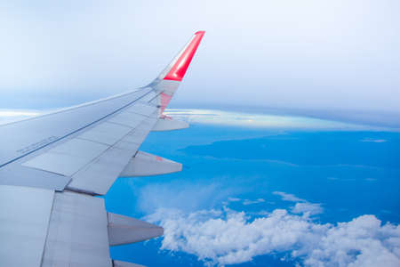 A view through an airplane window photo