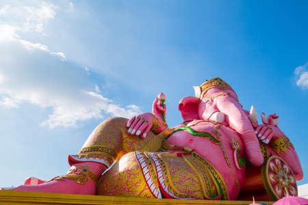 Pink Ganesha, Hindu God statue Stock Photo