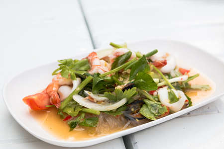 thai vermicelli and seafood dress salad photo