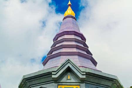 Landscape of two pagodas Noppamethanedol & Noppapol Phumsiri in an Inthanon mountain, Thailand. photo