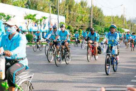 Bangkok,THAILAND, AUG 16-2015 : This event is Bike for mom  from Thailand. Bike for mom event show respected to Queen and make Thailands cyclists set record for worlds biggest bike ride. Editorial