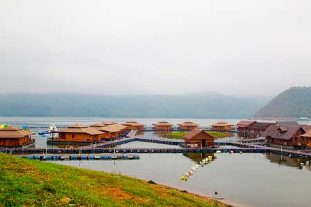 raft: Raft houses on Lakeside in Kanchanaburi, Thailand Stock Photo