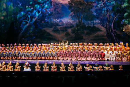 BANGKOK - NOV 15: Khon Performance, The Battle of Indrajit Episode of Prommas 2015, in Thailand Cultural Center, Main Hall on November 15, 2015 Bangkok, Thailand.